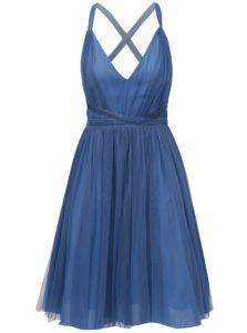 Modré tylové šaty na zaväzovanie MISSGUIDED
