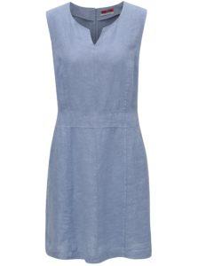 Svetlomodré ľanové šaty s kvetovaným vzorom s.Oliver