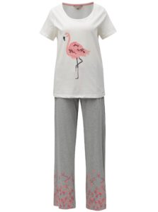 Krémovo–sivé dvojdielne pyžamo s motívom plameniaka Dorothy Perkins