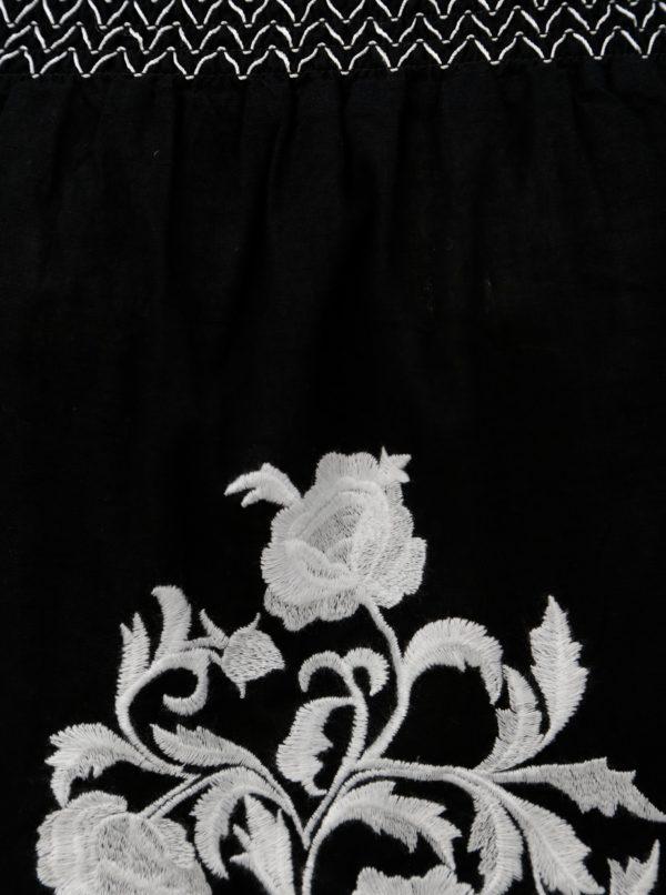 Čierna tunika s výšivkou a odhalenými ramenami Dorothy Perkins