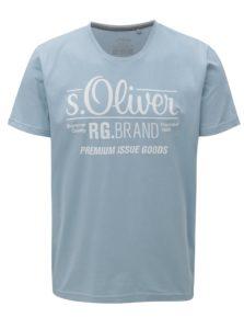Svetlomodré pánske tričko s potlačou s.Oliver