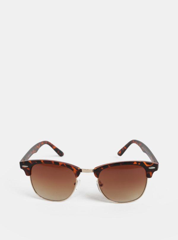 Hnedé slnečné okuliare s rámom v zlatej farbe ONLY & SONS Display