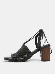 Čierne dámske kožené sandálky na podpätku Vagabond Carol