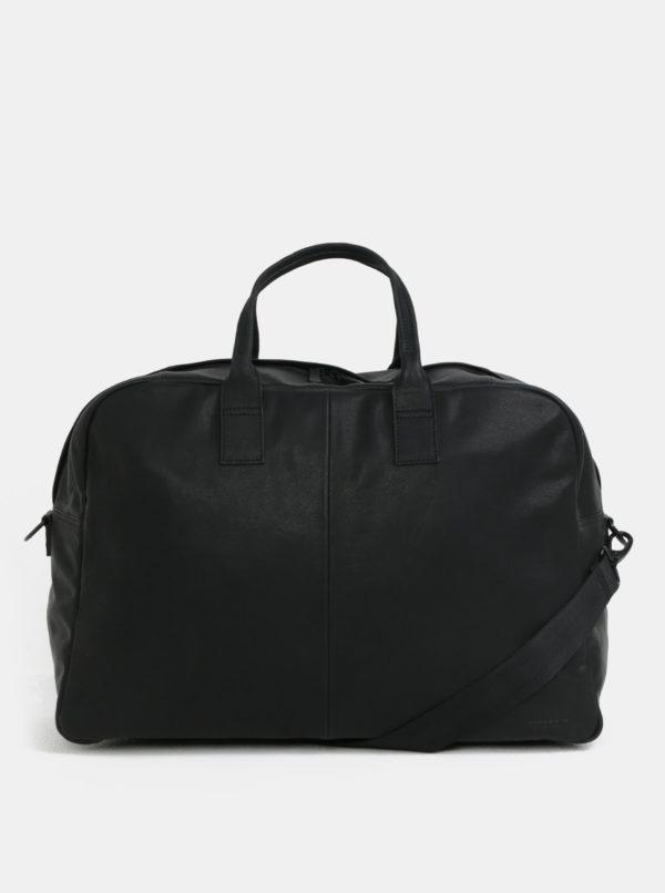 Čierna kožená cestovná taška Vagabond Torino