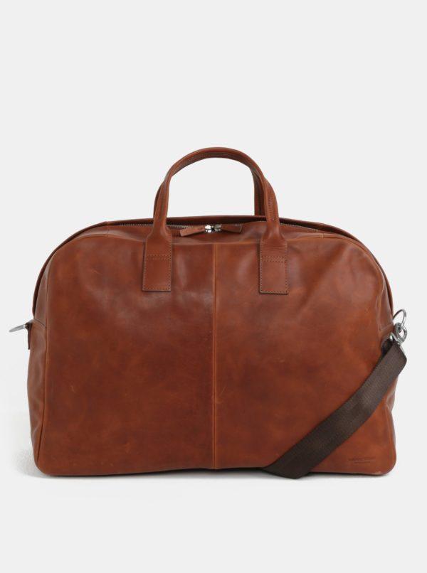 Hnedá kožená cestovná taška Vagabond Torino