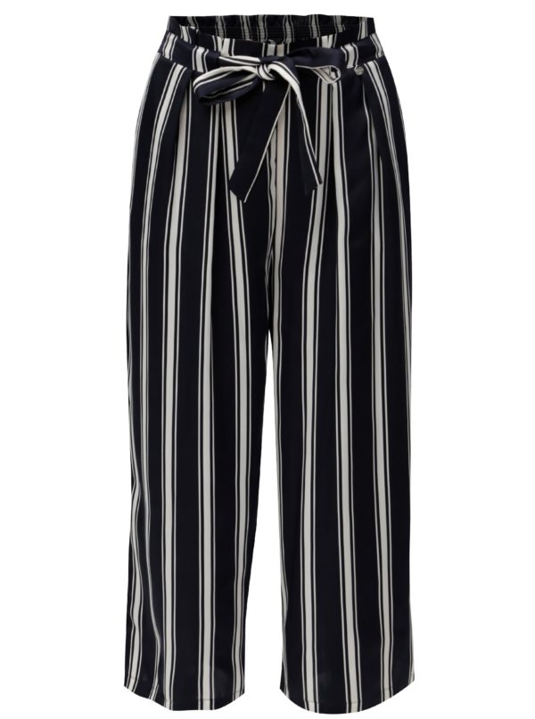 Tmavomodré pruhované voľné nohavice Rich & Royal