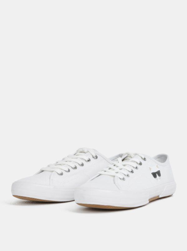 Biele tenisky s potlačou KARL LAGERFELD Kampus