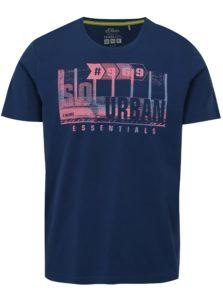 Tmavomodré pánske regular fit tričko s potlačou s.Oliver