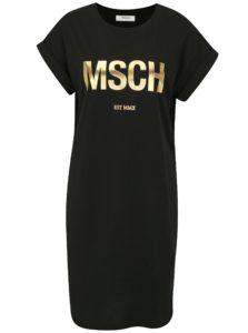 Čierne šaty s potlačou v zlatej farbe Moss Copenhagen Alvidera