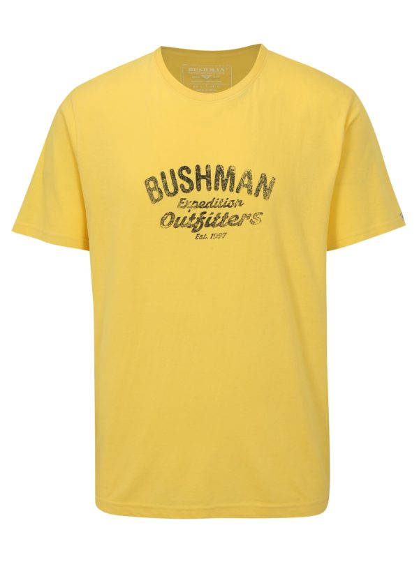 Žlté pánske tričko s potlačou BUSHMAN Cornhill