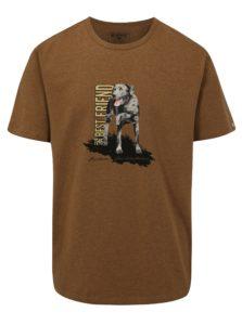 Hnedé pánske tričko s potlačou psa BUSHMAN Aulac
