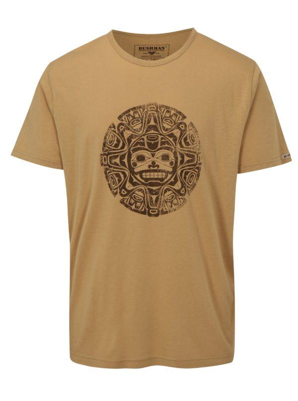 Svetlohnedé pánske tričko s potlačou BUSHMAN Function