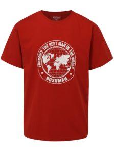Červené pánske tričko s potlačou zemegule BUSHMAN Wickham