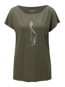 Tmavozelené dámske tričko s potlačou žirafy BUSHMAN Galleria