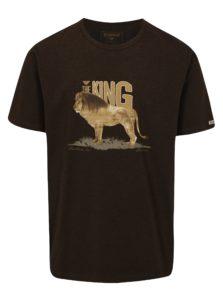 Tmavohnedé pánske tričko s potlačou leva BUSHMAN Aulac