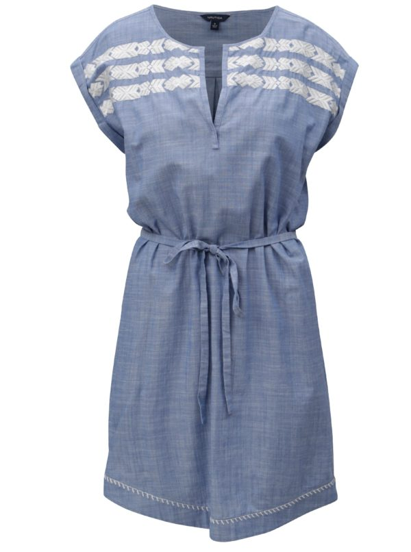 Modré šaty s opaskom Nautica Chambray