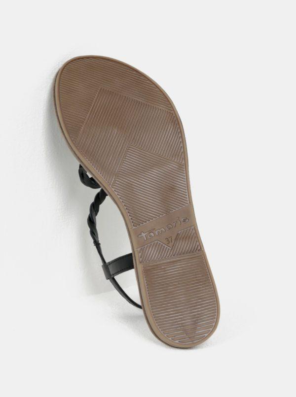 Béžovo-čierne kožené sandále Tamaris