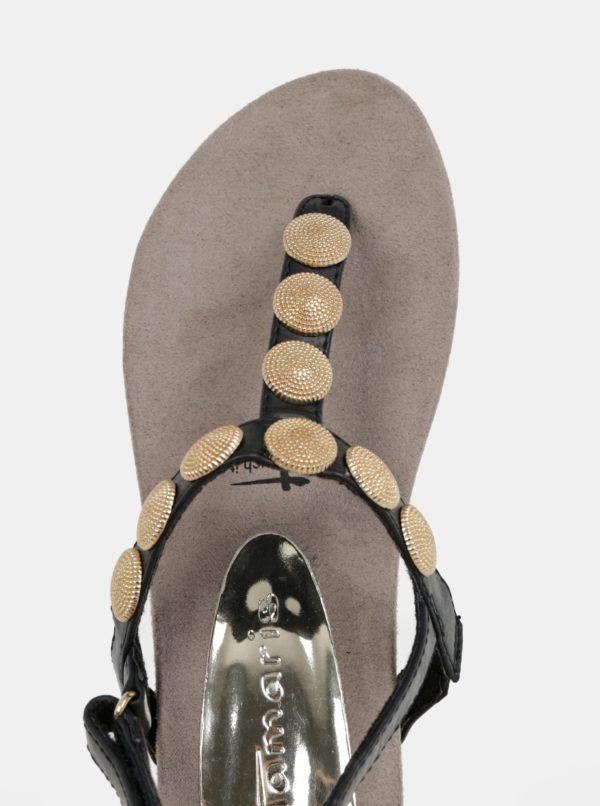 869647288d96 Čierne sandále s aplikáciou v zlatej farbe Tamaris