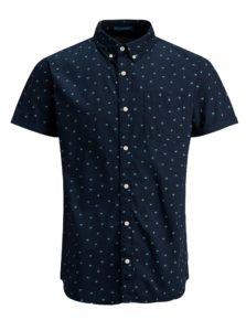 Tmavomodrá košeľa s motívom palmy a krátkym rukávom Jack & Jones Cambridge