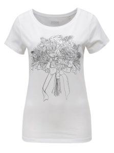 Biele dámske tričko s potlačou ZOOT Kytice