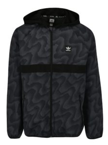 Čierna pánska vzorovaná šušťáková bunda adidas Originals
