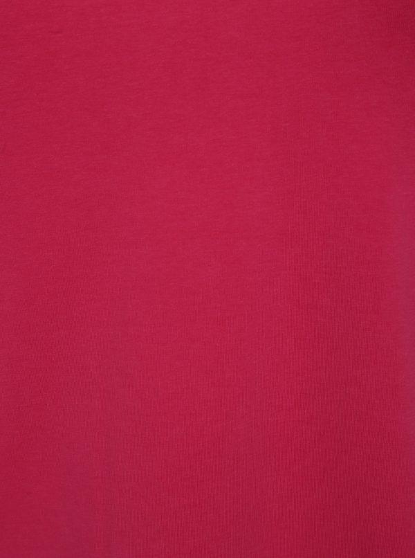 Ružové tričko s pásikmi v dekolte Ulla Popken