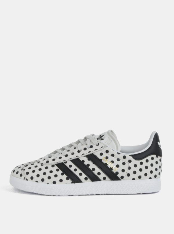 Sivé dámske bodkované kožené tenisky adidas Originals Gazelle