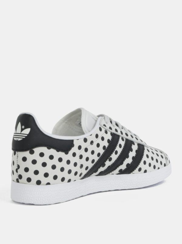 Sivé dámske bodkované kožené tenisky adidas Originals Gazelle  d993c821460