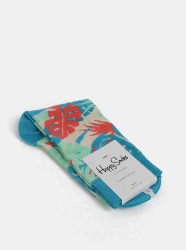 Béžovo-tyrkysové dámske vzorované ponožky Happy Socks Jungle