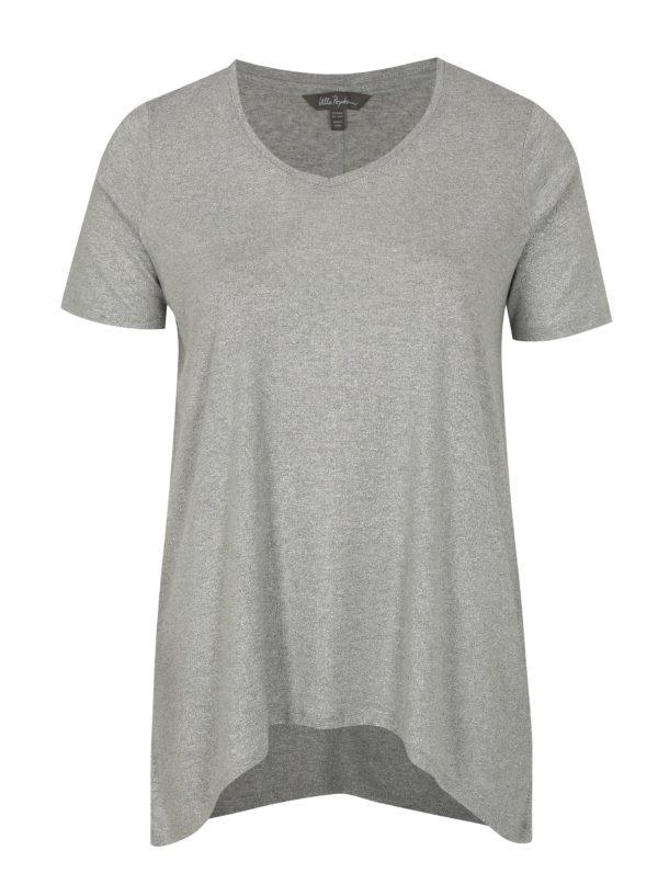 Sivé metalické basic tričko Ulla Popken