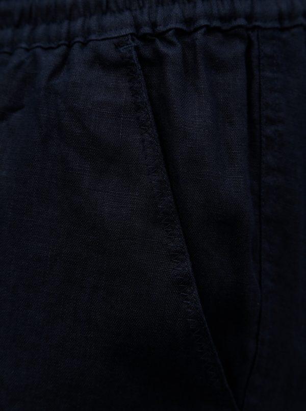 Tmavomodré voľné ľanové nohavice Ulla Popken