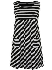Bielo-čierne pruhované šaty s vreckami Ulla Popken