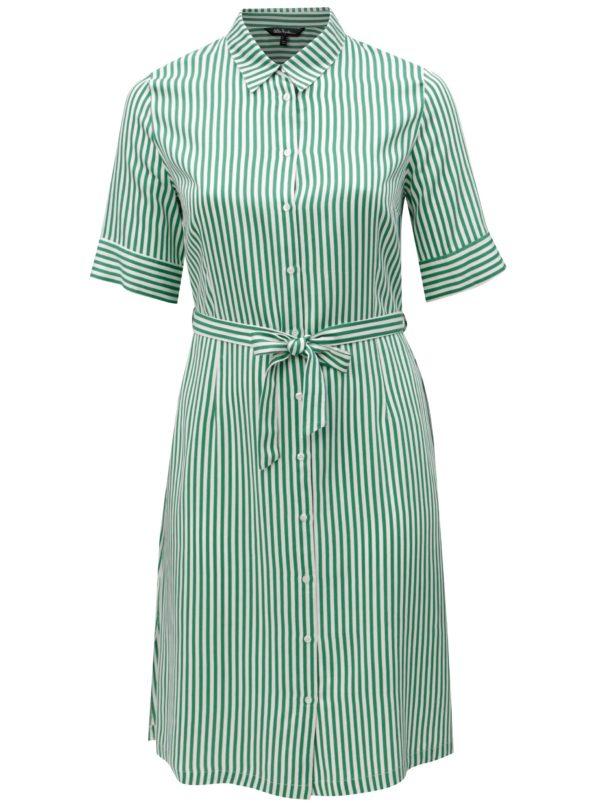 Bielo-zelené pruhované šaty s opaskom Ulla Popken