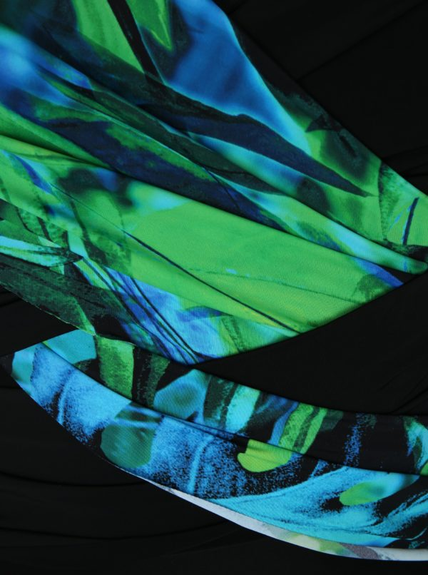 Zeleno–čierne jednodielne plavky s odnímateľnými ramienkami Ulla Popken
