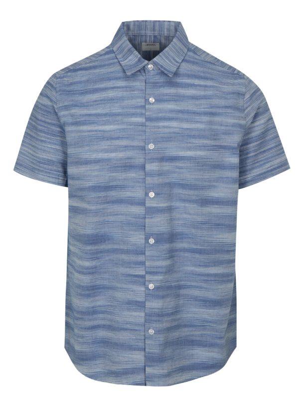Modrá pruhovaná košeľa s krátkym rukávom Burton Menswear London