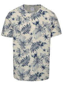 Modro-sivé melírované tričko s kvetovanou potlačou Burton Menswear London