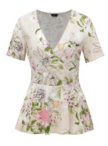 Béžová kvetovaná blúzka s prekladaným výstrihom M&Co