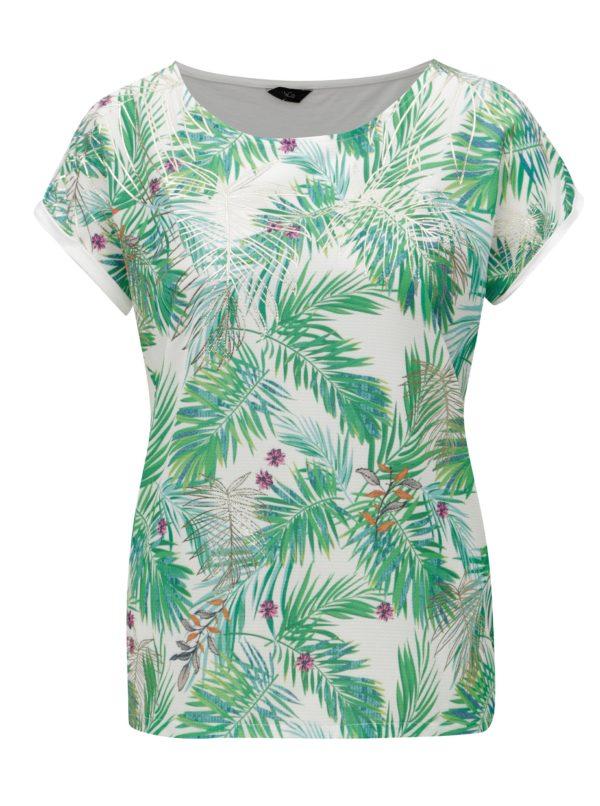 Bielo-zelené dámske vzorované tričko M&Co