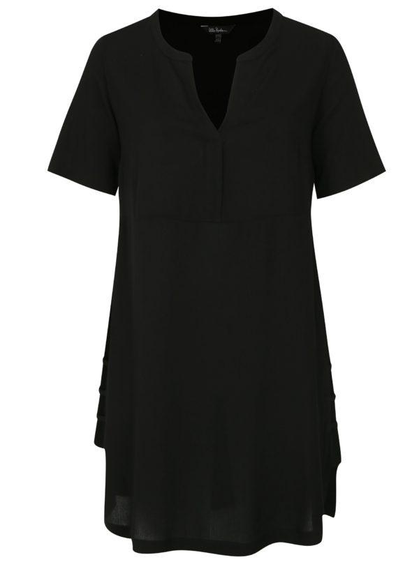 Čierne šaty s véčkovým výstrihom Ulla Popken