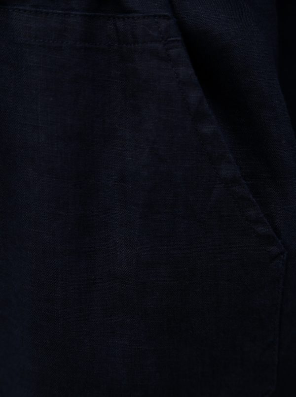 Tmavomodré košeľové ľanové šaty Ulla Popken