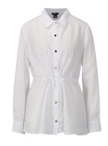 Biela ľanová košeľa s dlhým rukávom DKNY
