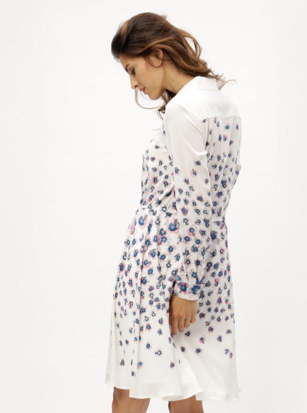 Krémové vzorované košeľové šaty DKNY