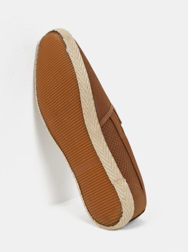 Hnedé perforované slip on Burton Menswear London