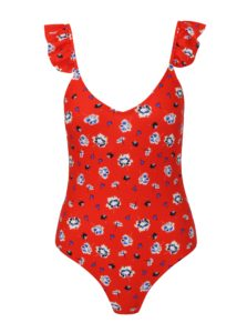 Červené jednodielne kvetované plavky VERO MODA Annita