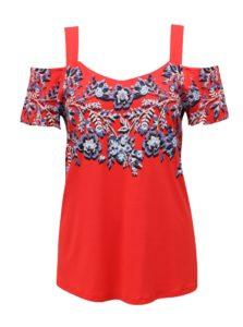 Červené kvetované dámske tričko s odhalenými ramenami M&Co