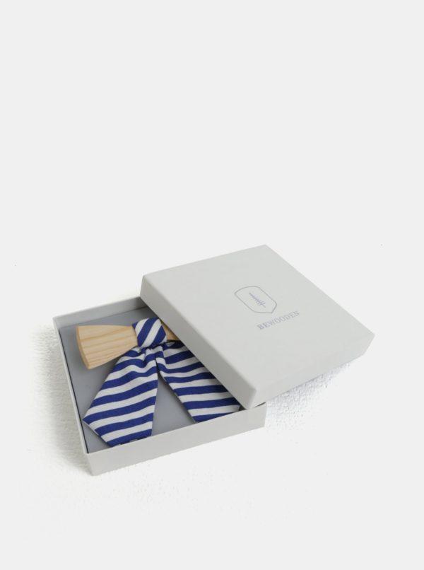 Krémovo–modrý dámsky drevený motýlik s pruhovanou mašľou BeWooden Grea