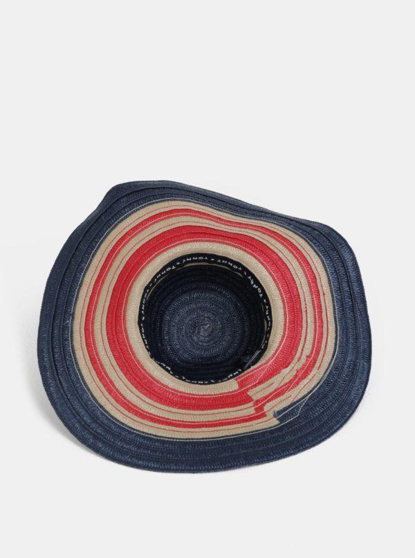Červeno-modrý dámsky pruhovaný klobúk Tommy Hilfiger