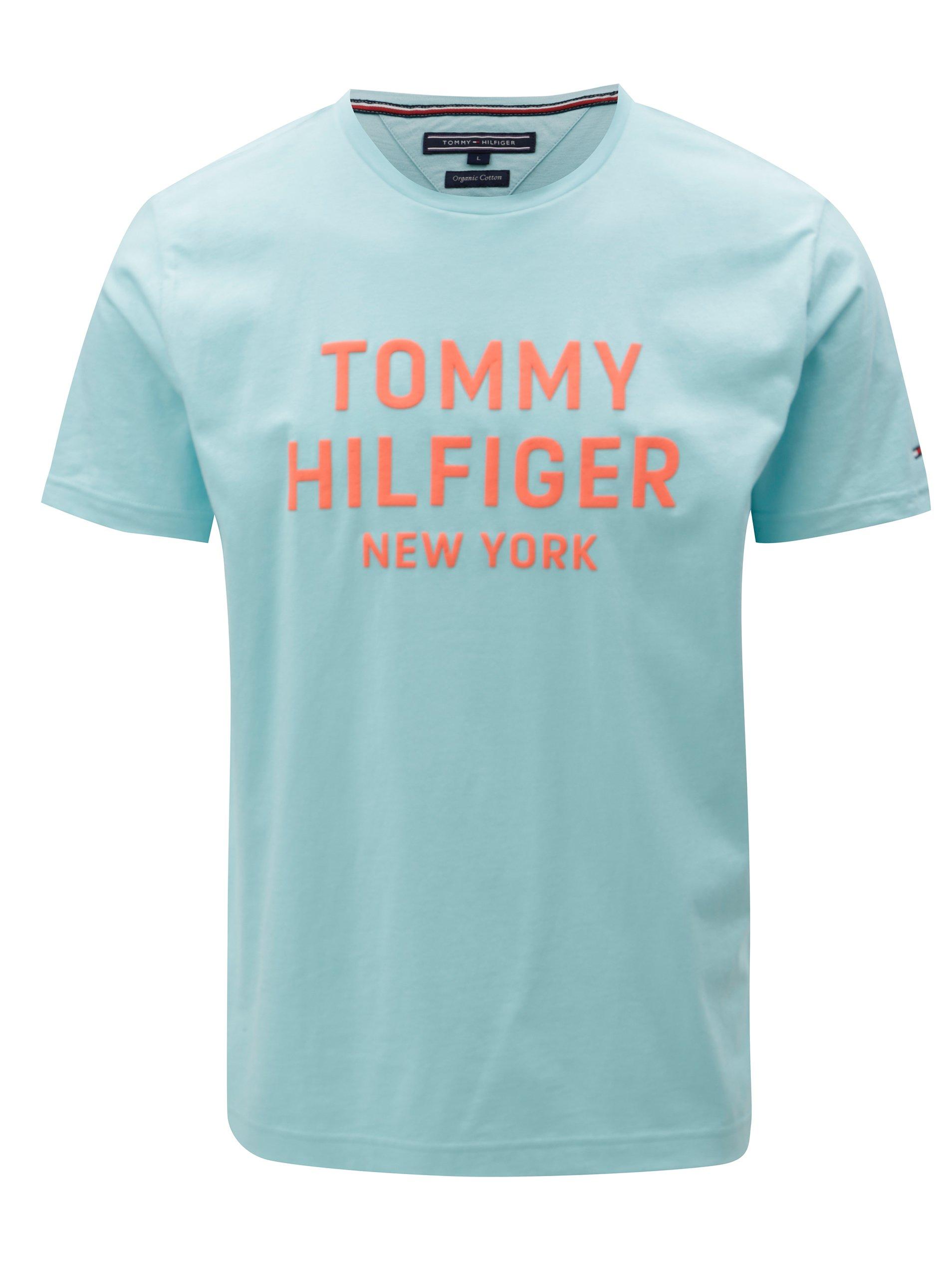 5d160b79e6 Oranžovo-tyrkysové pánske tričko s potlačou Tommy Hilfiger