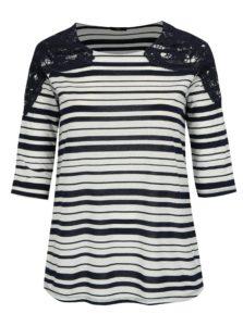 Modro-biele pruhované tričko s 3/4 rukávom M&Co