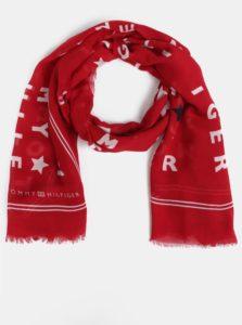 Červená vzorovaná šatka Tommy Hilfiger